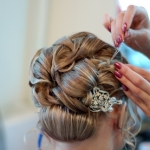 Making wedding coiffure